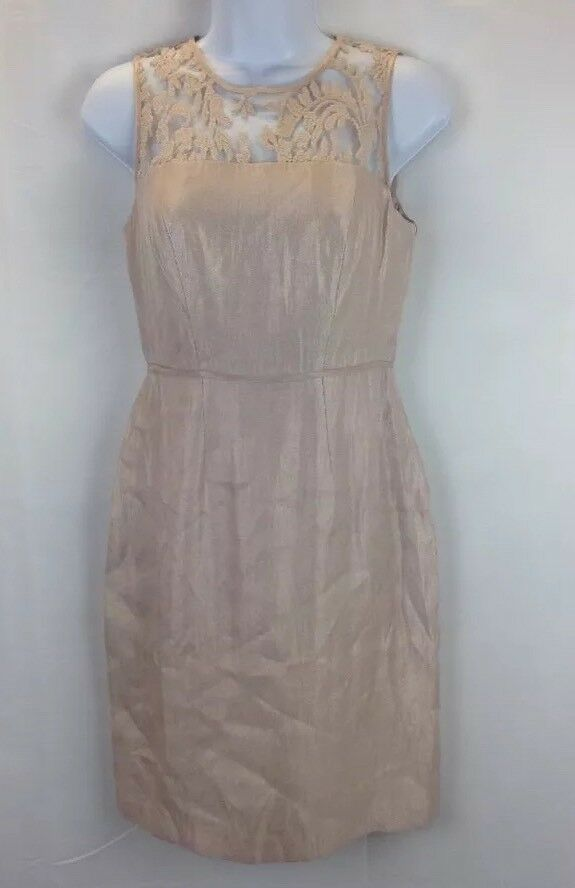 Adrianna Papell Womens Beige Lace Yoke Shimmer Sheath Dress Only Size 2