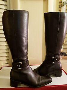 Karen Scott knee high  Brown Boots size 7M square toe zipper closure