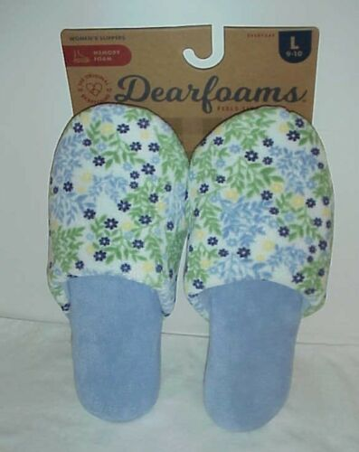 Dearfoams Women/'s Floral Blue Slipper/'s  Large 9-10 New with tags
