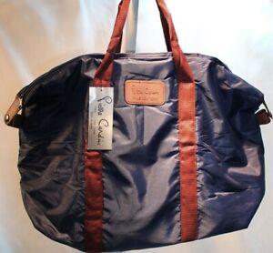 Pierre-Cardin-Travel-Duffel-Bag-Blue-Nylon-Zip-Side-Snap-VTG-Handbag-20-034-x13-034-x6-034