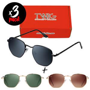 Tris occhiali da sole TWIG Pack ROQUE [Premium] uomo/donna esagonali metallo