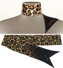 GUCCI brown animal print TATUM silk twill JAGUAR Ribbon scarf NWT Authentic $255