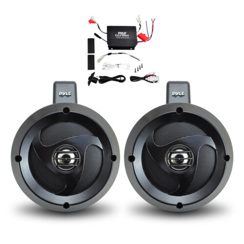Pyle 2 Channel Waterproof 4/'/'UTV//ATV//Snowmobile//Marine Amplified Speaker System