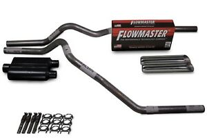 """Chevy GMC CK1500 CK2500 88-95 2.5"""" Dual Exhaust Kit Flowmaster 40 weld on tips"""