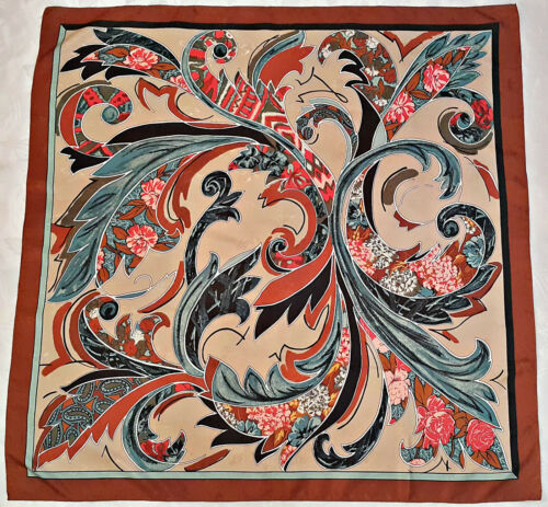 VINTAGE BAROQUE FLORAL ORNAMENTS BROWN BLUE RED SI