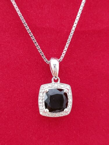 Details about  /STERLING SILVER BLACK ONYX  CUSHION CUT PENDANT SURROUNDED BY DIAMONDS