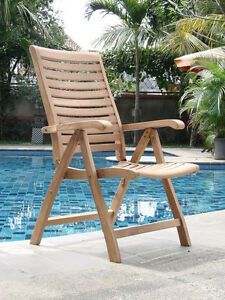 Reclining Chair A Grade Teak Garden Outdoor Furniture Patio