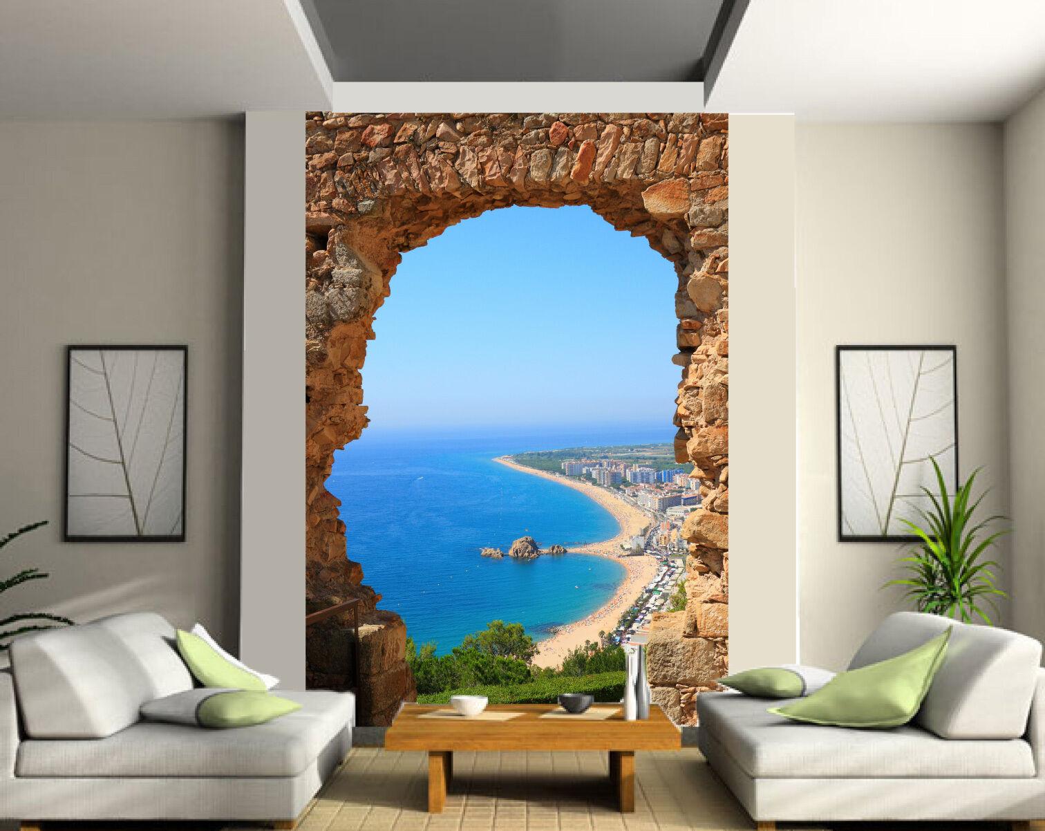 Papier peint géant 2 lés, tapisserie murale déco Belle vue mer réf 134