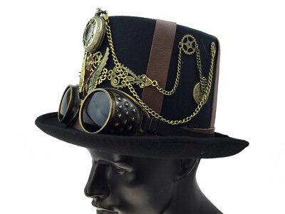 Burning Top Chain Party Clock Halloween Man Costume Antique Hat Belt Steampunk 58q1HwIH