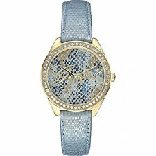 Guess Donna Orologio Watch Woman Uhr Ice Blu W0612L1 Pelle Strass Azzurro Oro