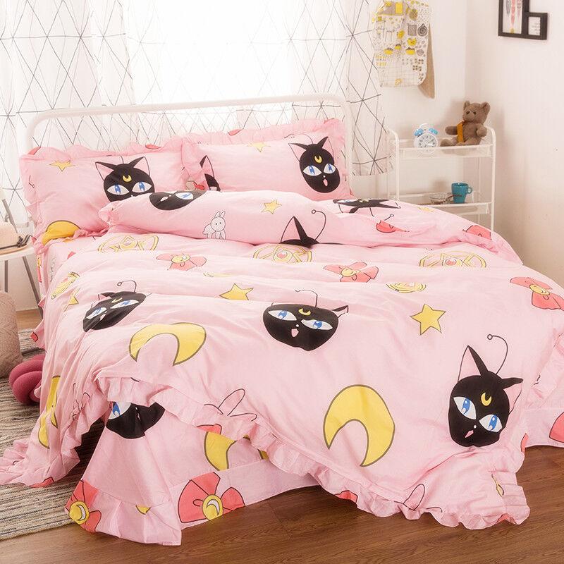 2019 Hot Sailor Moon Luna Pink Bedding Cover Sheet Blanket Sets Duvet Home Decor