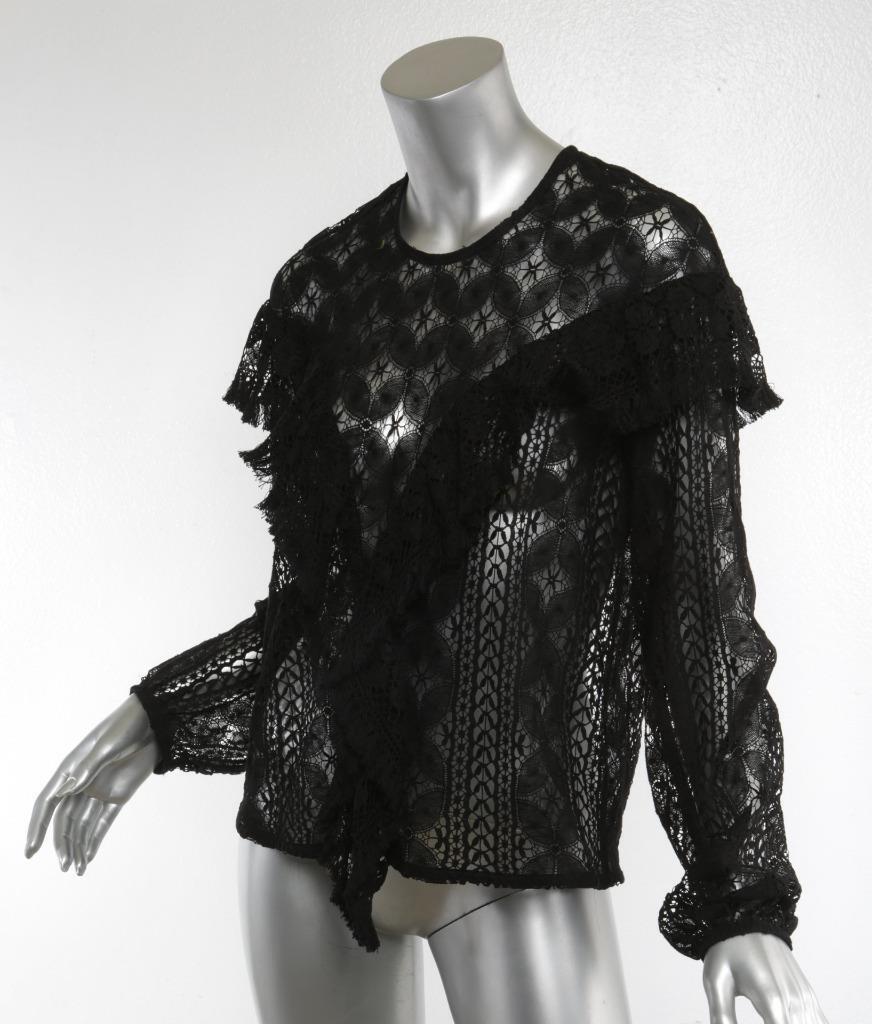 RODEBJER damen schwarz Patterned Lace Fringe Sheer Long Sleeve Top Blouse M
