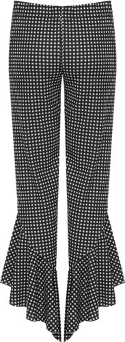 Women/'s Plus Size Flared Frill Asym Hem Gingham Check Stretch Trousers 12-26