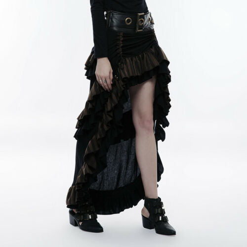 Punk Rave WQ-347 Woman Long Skirt Steampunk Brown and Black Stripy Belt Frilly