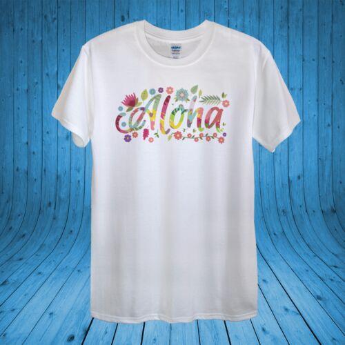 Aloha Summer Floral Happy T-shirt 100/% cotton unisex women
