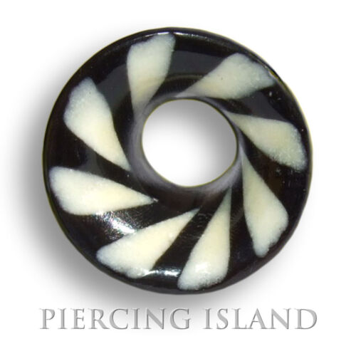 8mm 14mm Black /& White cuerno bollos túnel Plug negro Weiss oreja piercing 202