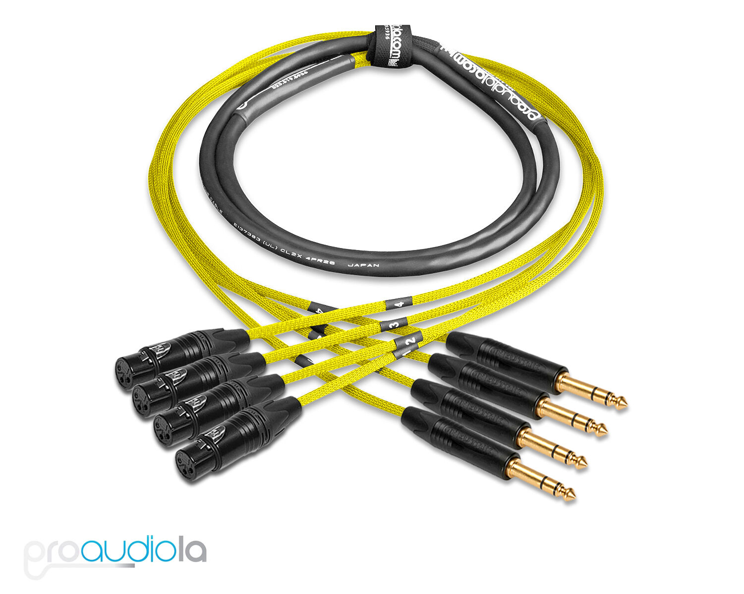 Premium 4 Channel Mogami 2931 Snake   Neutrik Gold XLR F to TRS   Gelb 18 ft.