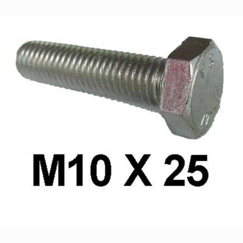 Set Screws 10mm x 25mm Fully Threaded x5 M10 x 25 Stainless Steel Hex Bolts
