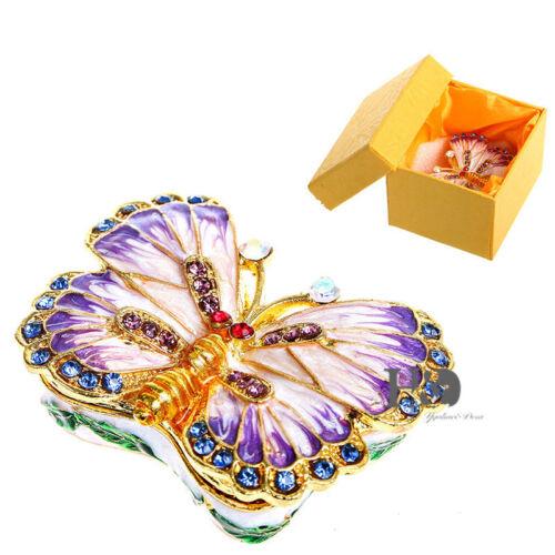 Handgefertigt Schmuckschatulle Kristall Metall Schmetterling Schmuckdose Deko