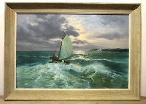 Original-Oil-Painting-Accomplished-Seascape-Artist-V-Berk-Sailboat-Ocean