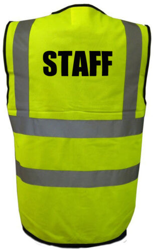 High Visability Hi Viz Vis Safety Vest STAFF Printed Waistcoat Workforce uniform