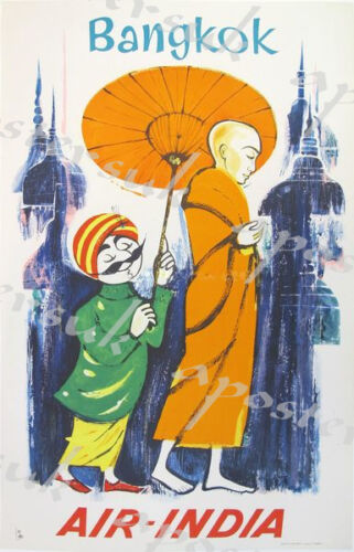 Vintage Air India Flights to Bangkok Poster A3//A4 Print