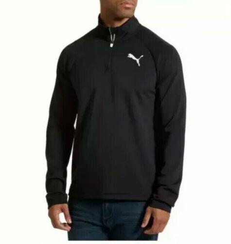 PUMA Men's Essential Active Quarter Zip Runner Pullover Black Size ...