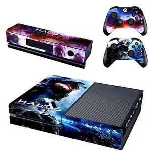 new xbox one console kinect 2 controllers skin stickers decal halo 5 ebay. Black Bedroom Furniture Sets. Home Design Ideas