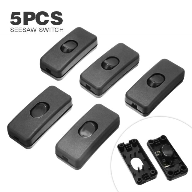 5pcs 250V 10A Inline ON OFF Table Desk Light Bed Lamp Cord Cable Rocker Switch