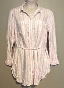 307099fdb NWT) Melissa McCarthy Seven7 Women's Plus Size Pink Striped Button ...