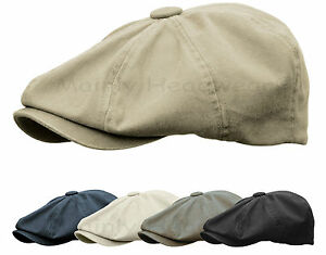 STONE-WASHED-COTTON-GATSBY-CAP-MENS-NEWSBOY-IVY-HAT-GOLF-DRIVING-FLAT-CABBIE