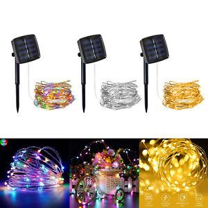100-200-LED-ENERGIA-SOLARE-Fata-Stringa-Filo-di-Rame-Giardino-Esterno-Lampada-Luce-Decor