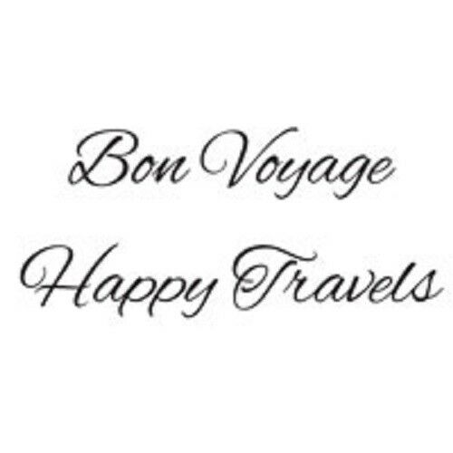 WOODWARE Clear JUST WORDS Singles Stamps BON VOYAGE HAPPY TRAVELS JWS063