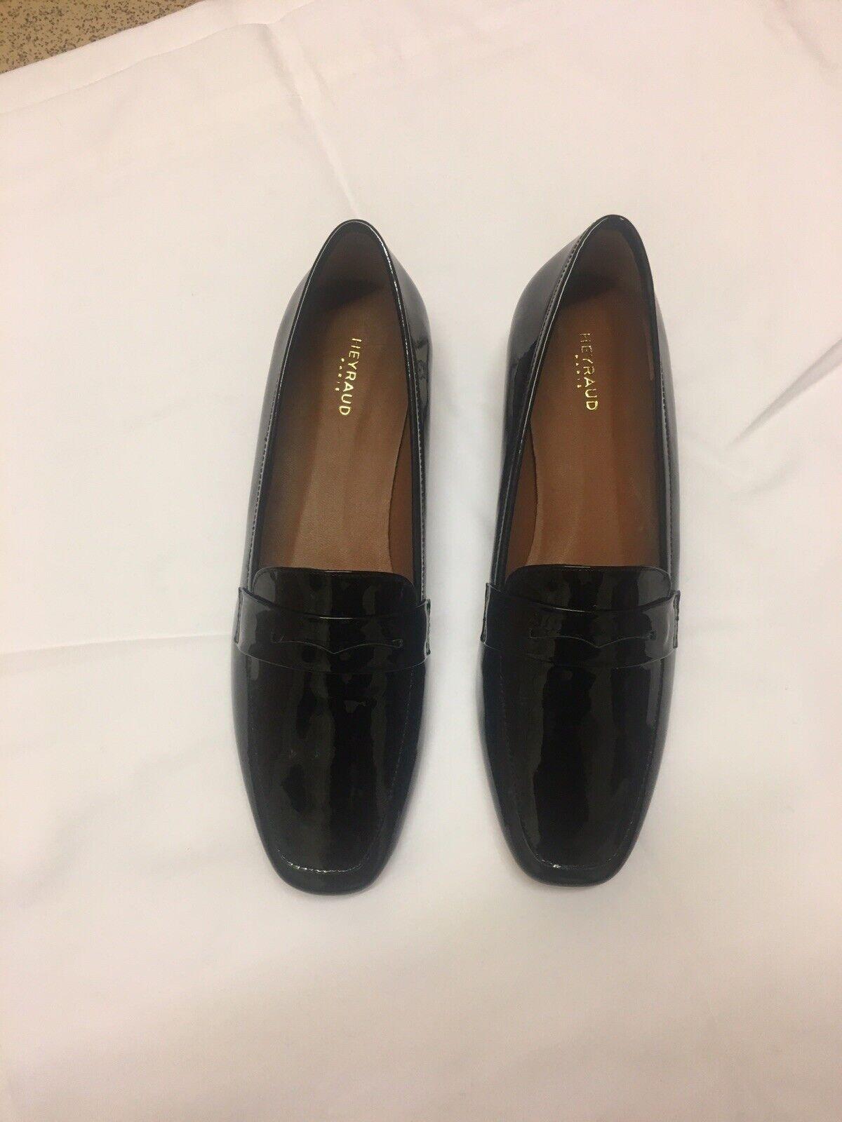 Da Donna Donna Nero Pelle loathers Taglia HEYRAUD Paris Moccasins scarpe