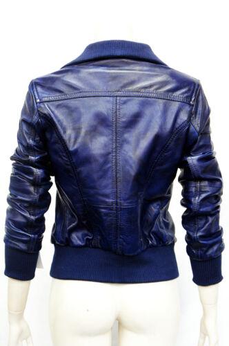 Portland Blue Ladies Woman/'s Bomber Washed Real Sheep Lamb Napa Leather Jacket