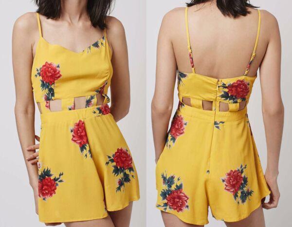 2019 Nuevo Estilo New Ex Topshop Yellow Floral Cut-out Playsuit Summer Beach Sizes 6 8 10 12 Servicio Durable