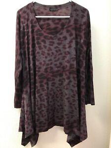 Nally-amp-Millie-Women-039-s-Animal-Print-Scoop-Neck-Pullover-Tunic-Top-TUNIC-L