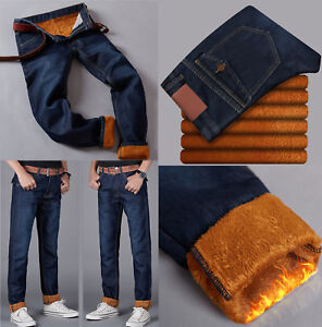 Mens Warm Denim Pants Fleece Lined Straight Trousers Thick Winter Casual Jeans