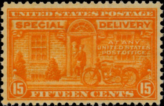 1931 15c Motorcycle, Special Delivery, Orange Scott E16