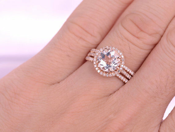 8mm Round Morganite & Dia 14K pink gold Over Curved  Wedding Halo Trio Ring Set