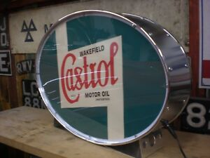 Castrol,fuel,o<wbr/>il,classic,vin<wbr/>tage,classic,m<wbr/>ancave,lightup sign,garage,wo<wbr/>rkshop