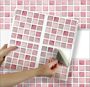 4 tile transfer stickers 6 x 6 pink mosaic for kitchen bathroom