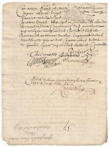 1697-LOUIS-XIV-royal-notary-signed-manuscript-INCREDIBLE-SIGNATURE-and-CAP-lette