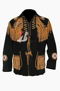 30be8855 Men's Suede Western Cowboy Leather Shirt with Fringe, Handmade Beads ...