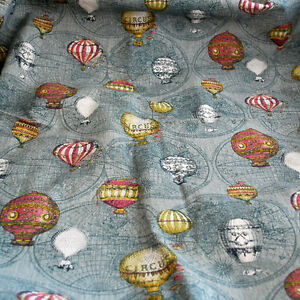 Cotton-Linen-Fabric-Vintage-Hot-Balloon-Map-Ancient-Explorer-FQ
