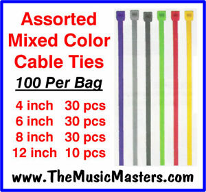 "100 Pieces Asst 4/6/8/12"" inch Plastic Nylon Cable Zip Ties Wire Cable Tie Wraps"