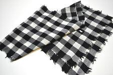 Polo Ralph Lauren Womens Black Cream Plaidsl Wool White Pony Scarf