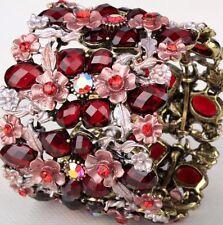 Red Crystal Flower Vintage Gold Cuff Wide Stretch Bracelet