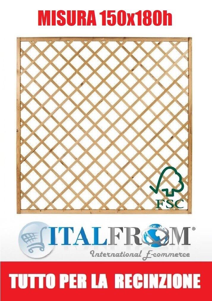 Pannello Grigliato Diagonale in Legno Impregnato Giardino cm150xH180 Italfrom