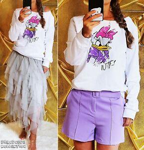 NEU-36-38-S-M-Sweatshirt-Daisy-WTF-Print-s-Weiss-Lila-Pink-Shirt-Pullover-Weiss
